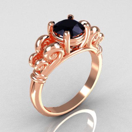 Modern Antique 10K Pink Gold 1.0 Carat Round Black Diamond Designer Solitaire Ring R141-10KPGBD-1