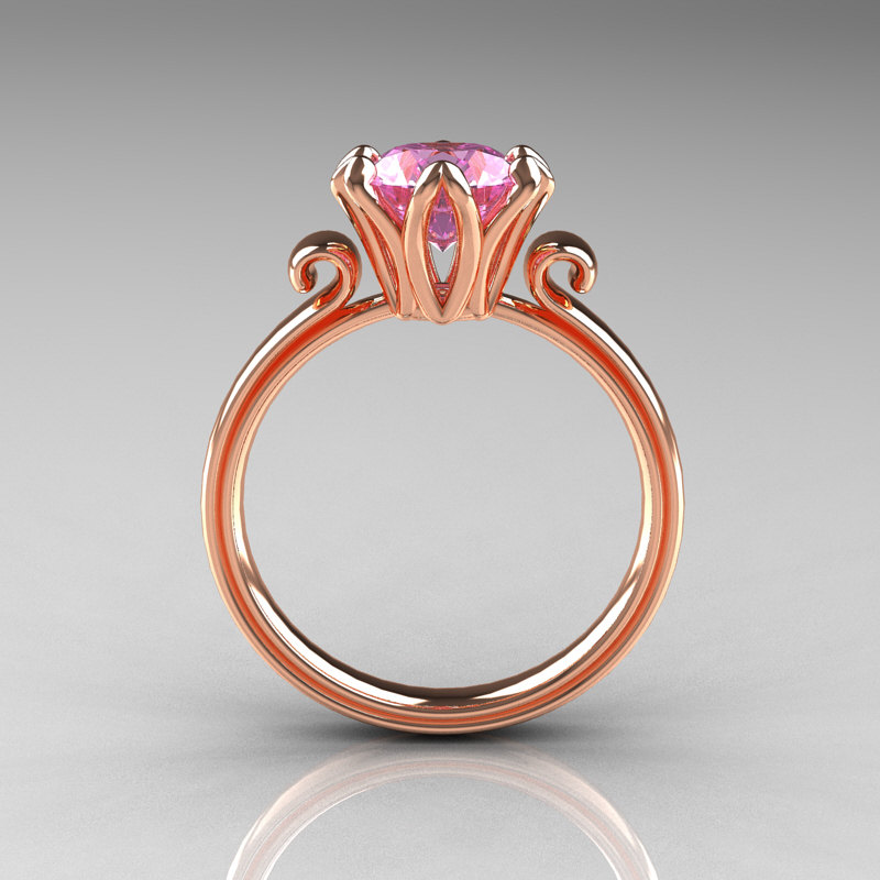 Modern Antique 14k Rose Gold 1 5 Carat Light Pink Topaz