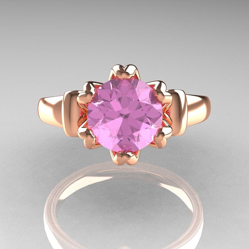 Modern Antique 14K Rose Gold 15 Carat Light Pink Topaz Solitaire