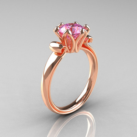 Modern Antique 14K Rose Gold 1.5 Carat Light Pink Topaz Solitaire Engagement Ring AR127-14RGLPT-1