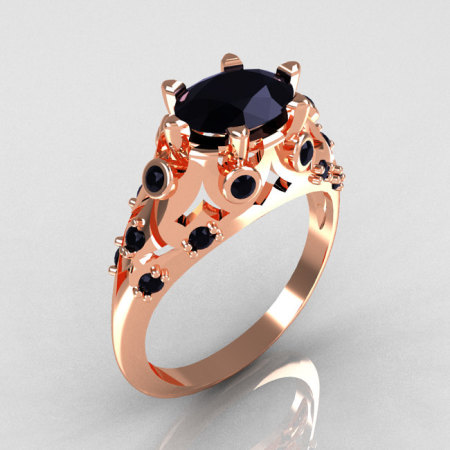 Modern Edwardian 14K Rose Gold 1.0 Carat Oval Black Diamond Bridal Ring R147-14RGBDD-1