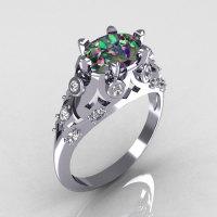 Modern Edwardian 18K White Gold 1.0 Carat Oval Mystic Topaz Bridal Ring R147-18WGDMT-1