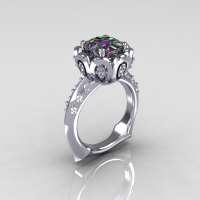 Classic 14K White Gold 3.0 Carat Mystic Topaz Diamond Greek Galatea Bridal Wedding Ring AR114-14KWGDMT-1