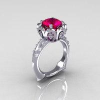 Classic 18K White Gold 3.0 Carat Red Ruby Diamond Greek Galatea Bridal Wedding Ring AR114-18KWGDRR-1