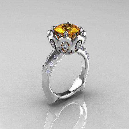 Classic 10K White Gold 3.0 Carat Yellow Citrine Diamond Greek Galatea Bridal Wedding Ring AR114-10KWGDYCI-1