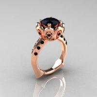 Classic 14K Rose Gold 3.0 Carat Black Diamond Greek Galatea Bridal Wedding Ring AR114-14KRGBDD-1