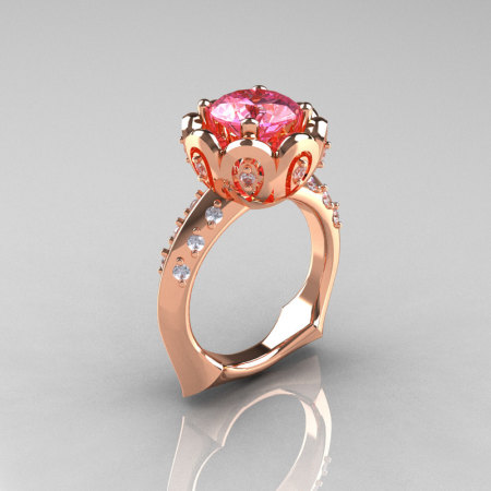 Classic 10K Rose Gold 3.0 Carat Pink Topaz Diamond Greek Galatea Bridal Wedding Ring AR114-10KRGDPT-1