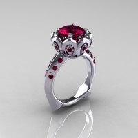 Classic 950 Platinum 3.0 Carat Red Garnet Greek Galatea Bridal Wedding Ring AR114-PLATDRG-1
