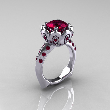 Classic 950 Platinum 3.0 Carat Red Garnet Greek Galatea Bridal Wedding Ring AR114-PLATDRG-1