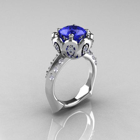 Classic 14K White Gold 3.0 Carat Blue Diamond Greek Galatea Bridal Wedding Ring AR114-14KWGDBLD-1
