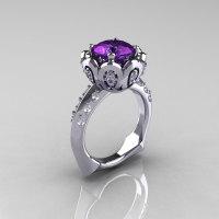 Classic 950 Platinum 3.0 Carat Alexandrite Diamond Greek Galatea Bridal Wedding Ring AR114-PLATDAL-1