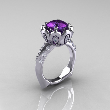 Classic 950 Platinum 3.0 Carat Alexandrite Diamond Greek Galatea Bridal Wedding Ring AR114-PLATDAL-1