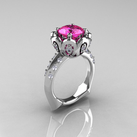 Classic 18K White Gold 3.0 Carat Pink Sapphire Diamond Greek Galatea Bridal Wedding Ring AR114-18KWGDPS-1