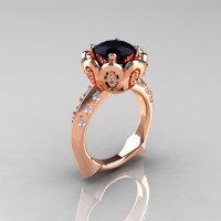 Classic 18K Rose Gold 3.0 Carat Black Diamond Greek Galatea Bridal Wedding Ring AR114-18KRGDBD-1