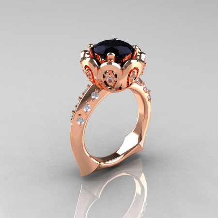 Classic 18K Rose Gold 3.0 Carat Black Diamond Greek Galatea Bridal Wedding Ring AR114-18KRGDBD-1