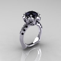 Classic 950 Platinum 3.0 Carat Black Diamond Greek Galatea Bridal Wedding Ring AR114-PLATBDD-1