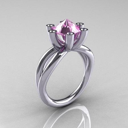 Modern Russian 950 Platinum 2.0 Carat Light Pink Topaz Diamond Bridal Ring RR111-PLATDLPT-1