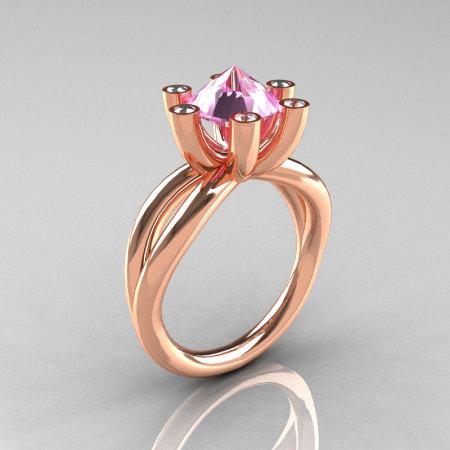 Modern Russian 14K Rose Gold 2.0 Carat Light Pink Topaz Diamond Bridal Ring RR111-14KWGDLPT-1