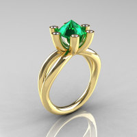 Modern Russian 14K Yellow Gold 2.0 Carat Emerald Diamond Bridal Ring RR111-14KYGDEM-1