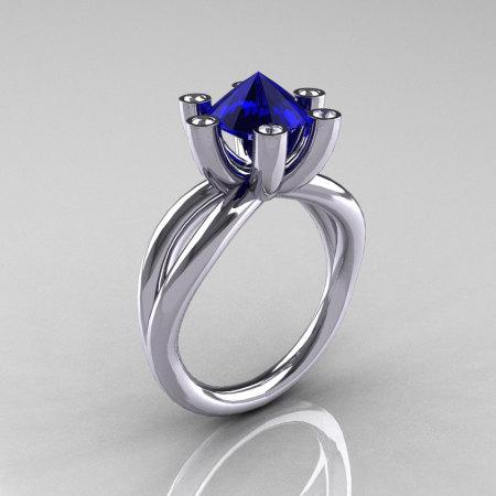 Modern Russian 14K White Gold 2.0 Carat Blue Sapphire Diamond Bridal Ring RR111-14KWGDBS-1