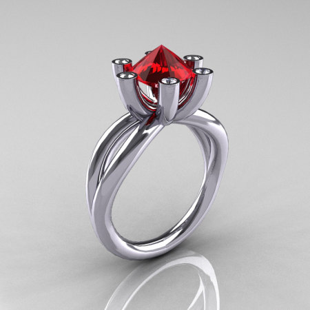 Modern Russian 10K White Gold 2.0 Carat Ruby Diamond Bridal Ring RR111-10KWGDR-1