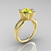 Modern Russian 10K Yellow Gold 2.0 Carat Yellow Topaz Diamond Bridal Ring RR111-10KYGDYT-1