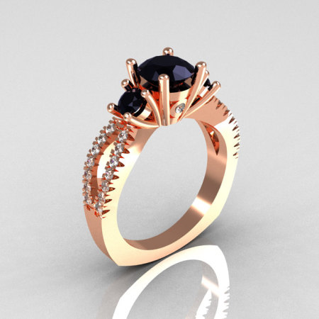 Modern French Bridal 14K Rose Gold Three Stone 1.0 Carat Black Diamond Accent White Diamond Engagement Ring R140-14RGDBD-1