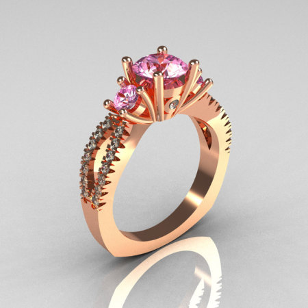 Modern French Bridal 10K Rose Gold Three Stone 1.0 Carat  Light Pink Topaz Diamond Engagement Ring R140-10KRGDLPT-1