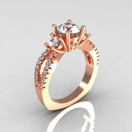 Modern French Bridal 18K Rose Gold Three Stone 1.0 Carat Zircon Accent Diamond Engagement Ring R140-18RGDZ-1