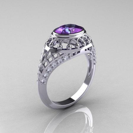 Modern Victorian 14K White Gold 1.16 Carat Oval Alexandrite 0.24 CTW Diamond Bridal Ring R158-14KWGDAL-1