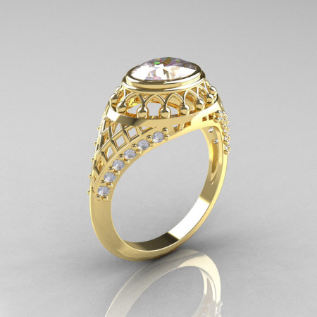 Modern Victorian 18K Yellow Gold 1.16 Carat Oval Zircon 0.24 CTW Diamond Bridal Ring R158-18KYGDZ-1