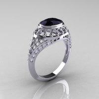 Modern Victorian 14K White Gold 1.16 Carat Oval Black Diamond 0.24 CTW Diamond Bridal Ring R158-14KWGDBD-1