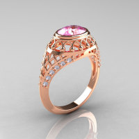 Modern Victorian 10K Rose Gold 1.16 Carat Oval Light Pink Topaz 0.24 CTW Diamond Bridal Ring R158-14KRGDLPT-1