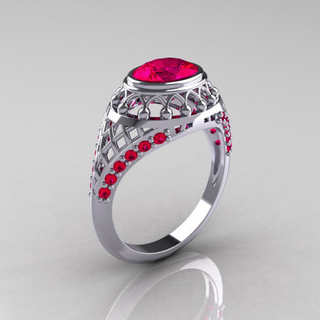 Modern Victorian 14K White Gold 1.16 Carat Oval Red Ruby Bridal Ring R158-14KWGRR-1