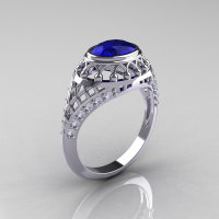 Modern Victorian 950 Platinum 1.16 Carat Oval Blue Sapphire 0.24 CTW Diamond Bridal Ring R158-PLATDBS-1