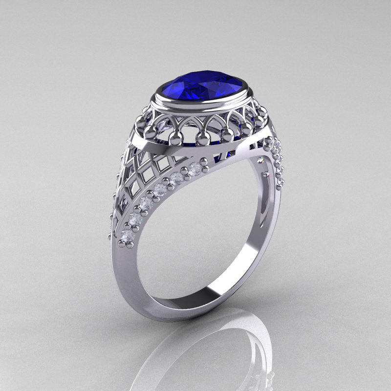 Modern Victorian 950 Platinum 1 16 Carat Oval Blue