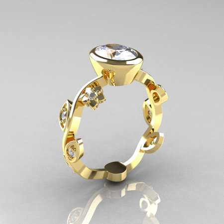 Classic 18K Yellow Gold 1.0 Carat Oval Moissanite Diamond Flower Leaf Engagement Ring R159O-18KYGDM-1