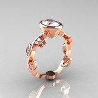 Classic 10K Rose Gold 1.0 Carat Oval Zircon Diamond Flower Leaf Engagement Ring R159O-10KRGDZ-1