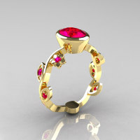 Classic 10K Yellow Gold 1.0 Carat Oval Ruby Flower Leaf Engagement Ring R159O-10KYGRR-1