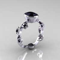 Classic 14K White Gold 1.0 Carat Oval Black Diamond Flower Leaf Engagement Ring R159O-14KWGBDD-1