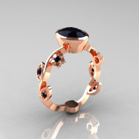Classic 18K Rose Gold 1.0 Carat Oval Black Diamond Flower Leaf Engagement Ring R159O-18KRGBDD-1