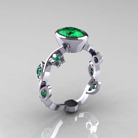 Classic 950 Platinum 1.0 Carat Oval Emerald Flower Leaf Engagement Ring R159O-PLATEM-1
