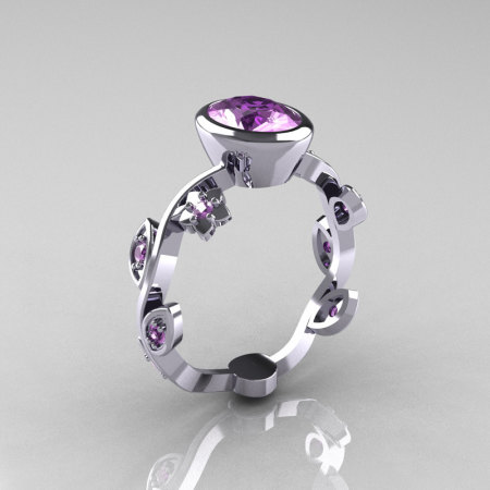 Classic 10K White Gold 1.0 Carat Oval Lilac Amethyst Flower Leaf Engagement Ring R159O-10KWGLA-1