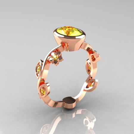 Classic 14K Rose Gold 1.0 Carat Oval Yellow Topaz Flower Leaf Engagement Ring R159O-14KRGYTT-1
