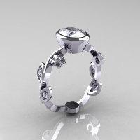 Classic 14K White Gold 1.0 Carat Oval Zircon Diamond Flower Leaf Engagement Ring R159O-14KWGDZ-1