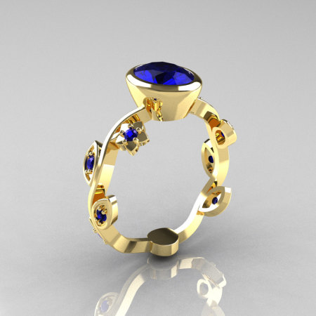 Classic 14K Yellow Gold 1.0 Carat Oval Blue Sapphire Flower Leaf Engagement Ring R159O-14KYGBSS-1