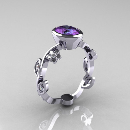 Classic 14K White Gold 1.0 Carat Oval Alexandrite Diamond Flower Leaf Engagement Ring R159O-14KWGDAL-1