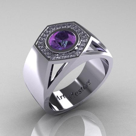 Gentlemens Modern 950 Platinum 1.0 Carat Alexandrite Diamond Celebrity Engagement Ring MR161-PLATDAL-1
