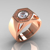 Gentlemens Modern 14K Rose Gold 1.0 Carat Moissanite Diamond Celebrity Engagement Ring MR161-14KRGDM-1