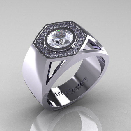 Gentlemens Modern 950 Platinum 1.0 Carat Moissanite Diamond Celebrity Engagement Ring MR161-PLATDM-1